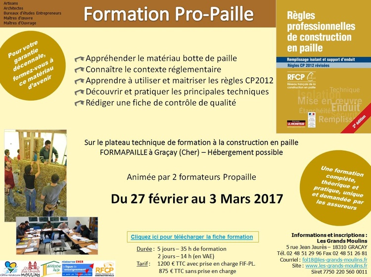 formation pro paille mars 2017 construction paille r seau de la r gion centre val de loire. Black Bedroom Furniture Sets. Home Design Ideas
